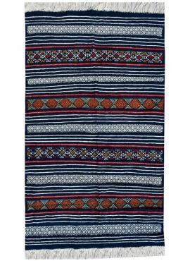 Berber tapijt Tapijt Kilim Tej 98x140 Blaw (Handgeweven, Wol, Tunesië) Tunesisch kilimdeken, Marokkaanse stijl. Rechthoekig woll