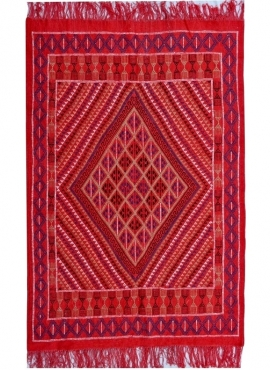 tappeto berbero Tappeto Margoum Tounes 125x190 Rosso (Fatto a mano, Lana) Tappeto margoum tunisino della città di Kairouan. Tapp