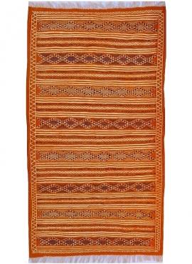 Berber Teppich Teppich Kelim Rached 110x195 Orange/Schwarz (Handgewebt, Wolle, Tunesien) Tunesischer Kelim-Teppich im marokkanis