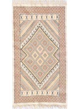 tappeto berbero Tappeto Margoum Zarzis 100x195 Bianca (Fatto a mano, Lana, Tunisia) Tappeto margoum tunisino della città di Kair
