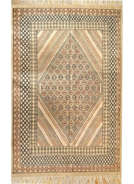 Berber carpet Large Rug Margoum Ledna 200x310 Beige (Handmade, Wool) Tunisian margoum rug from the city of Kairouan. Rectangular