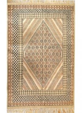 Tapis berbère Grand Tapis Margoum Ledna 200x310 Beige (Fait main, Laine) Tapis margoum tunisien de la ville de Kairouan. Tapis d