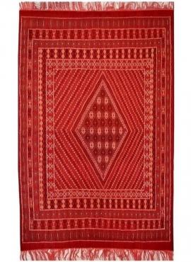 Tapete berbere Grande Tapete Margoum Haouaria 205x290 Vermelho (Artesanal, Lã, Tunísia) Tapete Margoum tunisino da cidade de Kai