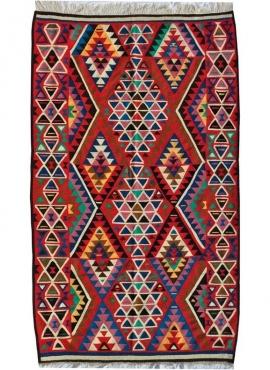 Berber Teppich Großer Teppich Kelim Sahar 150x250 Mehrfarben (Handgewebt, Wolle, Tunesien) Tunesischer Kelim-Teppich im marokkan
