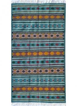 Berber carpet Rug Kilim Bayen 110x195 Blue turquoise/Yellow/Red (Handmade, Wool) Tunisian Rug Kilim style Moroccan rug. Rectangu