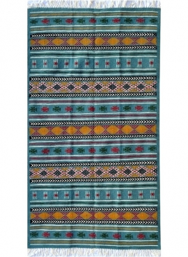 Berber tapijt Tapijt Kilim Bayen 110x195 Turkoois/Jeel/Rood (Handgeweven, Wol, Tunesië) Tunesisch kilimdeken, Marokkaanse stijl.