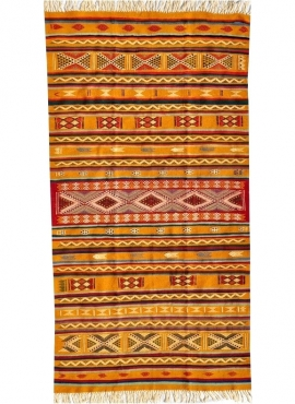 Berber tapijt Tapijt Kilim Ouarzazate 125x245 Geel/Veelkleurig (Handgeweven, Wol, Tunesië) Tunesisch kilimdeken, Marokkaanse sti