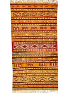 Tapis berbère Tapis Kilim Ouarzazate 125x245 Jaune/Multiclore (Tissé main, Laine) Tapis kilim tunisien style tapis marocain. Tap