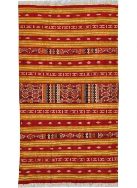 Berber tapijt Tapijt Kilim Mthalith 140x250 Geel/Veelkleurig (Handgeweven, Wol, Tunesië) Tunesisch kilimdeken, Marokkaanse stijl