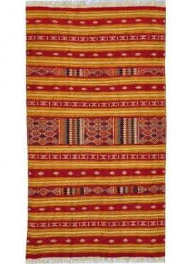 Tapis berbère Tapis Kilim Mthalith 140x250 Jaune/Multiclore (Tissé main, Laine) Tapis kilim tunisien style tapis marocain. Tapis