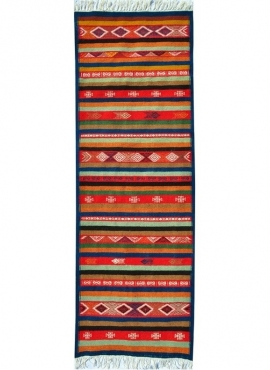 Berber tapijt Tapijt Kilim lang Foudha 65x200 Veelkleurig (Handgeweven, Wol, Tunesië) Tunesisch kilimdeken, Marokkaanse stijl. R