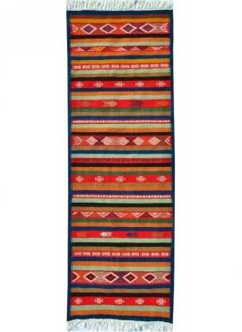 Tapis berbère Tapis Kilim long Foudha 65x200 Multicolore (Tissé main, Laine) Tapis kilim tunisien style tapis marocain. Tapis de