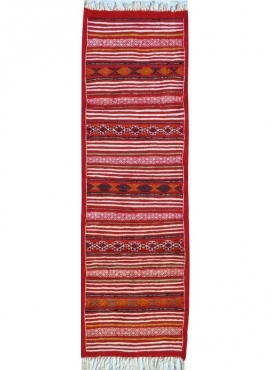 Berber carpet Rug Kilim long Essour 65x190 Red (Handmade, Wool, Tunisia) Tunisian Rug Kilim style Moroccan rug. Rectangular carp