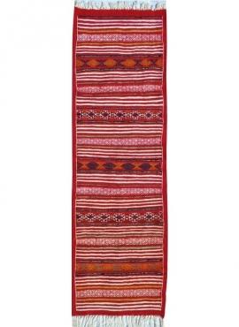 Tapis berbère Tapis Kilim long Essour 65x190 Rouge (Tissé main, Laine, Tunisie) Tapis kilim tunisien style tapis marocain. Tapis