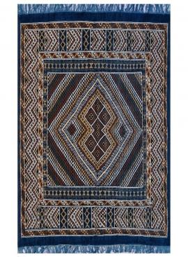 Tapete berbere Grande Tapete Margoum Nahrawen 170x240 Azul (Artesanal, Lã, Tunísia) Tapete Margoum tunisino da cidade de Kairoua