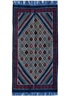 tappeto berbero Tappeto Margoum Rejiche 100x200 Blu (Fatto a mano, Lana, Tunisia) Tappeto margoum tunisino della città di Kairou
