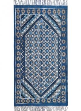 Tapete berbere Tapete Margoum Tajerouine 110x215 Azul/Branco (Artesanal, Lã, Tunísia) Tapete Margoum tunisino da cidade de Kairo