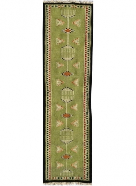 Alfombra bereber Alfombra Kilim Dhamer 60x210 Verde (Hecho a mano, Lana) Alfombra kilim tunecina, estilo marroquí. Alfombra rect