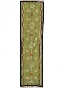 Berber tapijt Tapijt Kilim Dhamer 60x210 Groen (Handgeweven, Wol, Tunesië) Tunesisch kilimdeken, Marokkaanse stijl. Rechthoekig