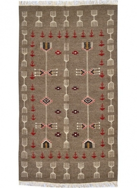 Berber carpet Rug Kilim Miskar 100x160 Grey (Handmade, Wool) Tunisian Rug Kilim style Moroccan rug. Rectangular carpet 100% wool