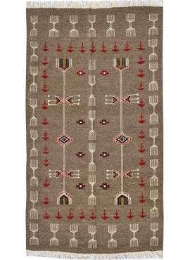 Tapete berbere Tapete Kilim Miskar 100x160 Cinza (Tecidos à mão, Lã) Tapete tunisiano kilim, estilo marroquino. Tapete retangula