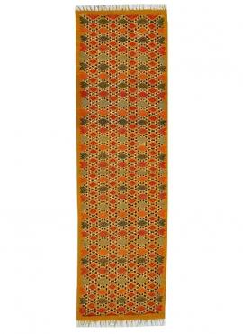 Berber carpet Rug Kilim long Jedeliene 60x210 Yellow (Handmade, Wool, Tunisia) Tunisian Rug Kilim style Moroccan rug. Rectangula