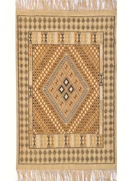 Berber Teppich Teppich Margoum Regueb 125x195 Beige (Handgefertigt, Wolle, Tunesien) Tunesischer Margoum-Teppich aus der Stadt K