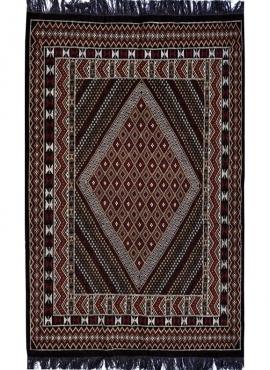Tapis berbère Grand Tapis Margoum Foussana 200x300 Noir (Fait main, Laine, Tunisie) Tapis margoum tunisien de la ville de Kairou