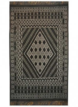 Berber carpet Large Rug Margoum Kera 155x250 Black (Handmade, Wool, Tunisia) Tunisian margoum rug from the city of Kairouan. Rec
