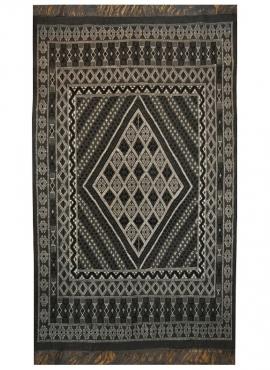 tappeto berbero Grande Tappeto Margoum Kera 155x250 Nero (Fatto a mano, Lana, Tunisia) Tappeto margoum tunisino della città di K