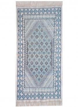 Tapete berbere Grande Tapete Margoum Morjane 100x200 Azul/Branco (Artesanal, Lã, Tunísia) Tapete Margoum tunisino da cidade de K