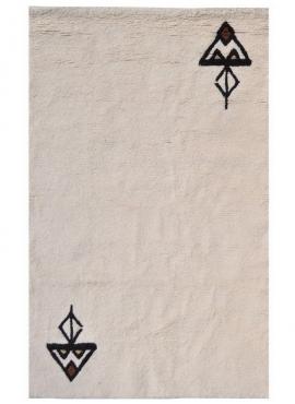 Tapis berbère Tapis Laine Blanc Fares 175x235 (Noué main, unique, Tunisie) Tapis berbère haute laine blanc tunisien style tapis