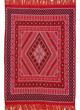 Berber carpet Rug Margoum Eklil 171x238 cm Red (Handmade, Wool) Tunisian margoum rug from the city of Kairouan. Rectangular livi