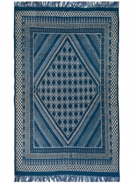 Tapete berbere Tapete Margoum Layth 186x320 cm Azul/Branco (Artesanal, Lã, Tunísia) Tapete Margoum tunisino da cidade de Kairoua
