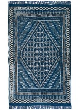 tappeto berbero Tappeto Margoum Layth 186x320 cm Blu/Bianco (Fatto a mano, Lana, Tunisia) Tappeto margoum tunisino della città d