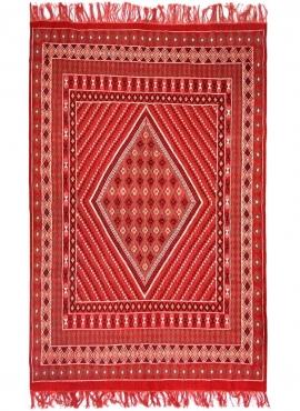 tappeto berbero Tappeto Margoum Delaali 195x308 cm Rosso (Fatto a mano, Lana) Tappeto margoum tunisino della città di Kairouan.