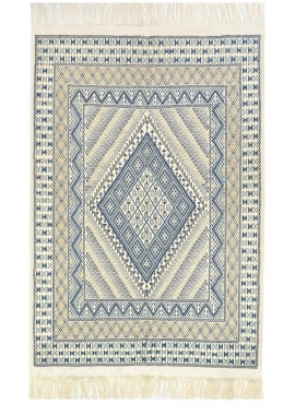 Berber tapijt Groot Tapijt Margoum Flouki 206x308 cm Blauw (Handgeweven, Wol, Tunesië) Tunesisch Margoum Tapijt uit de stad Kair