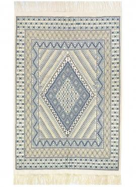Tapis berbère Grand Tapis Margoum Flouki 206x308 cm Bleu Blanc (Fait main, Laine, Tunisie) Tapis margoum tunisien de la ville de