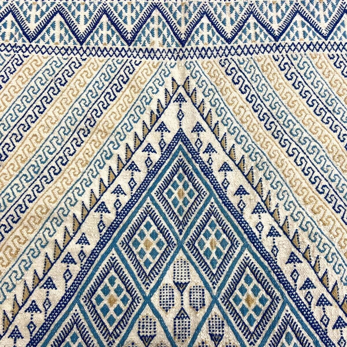 Berber carpet Large Rug Margoum Flouki 206x308 cm Blue/White (Handmade, Wool, Tunisia) Tunisian margoum rug from the city of Kai