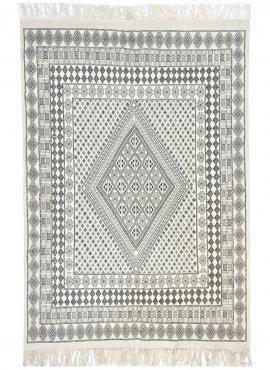 Tapis berbère Grand Tapis Margoum Samssa 170x250 cm Noir Blanc Gris (Fait main, Laine, Tunisie) Tapis margoum tunisien de la vil