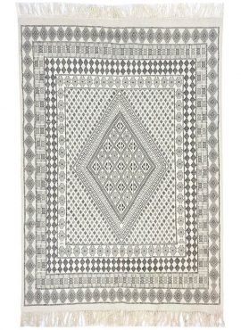 tappeto berbero Grande Tappeto Margoum Samssa 170x250 cm Nero Bianco Grigio (Fatto a mano, Lana, Tunisia) Tappeto margoum tunisi