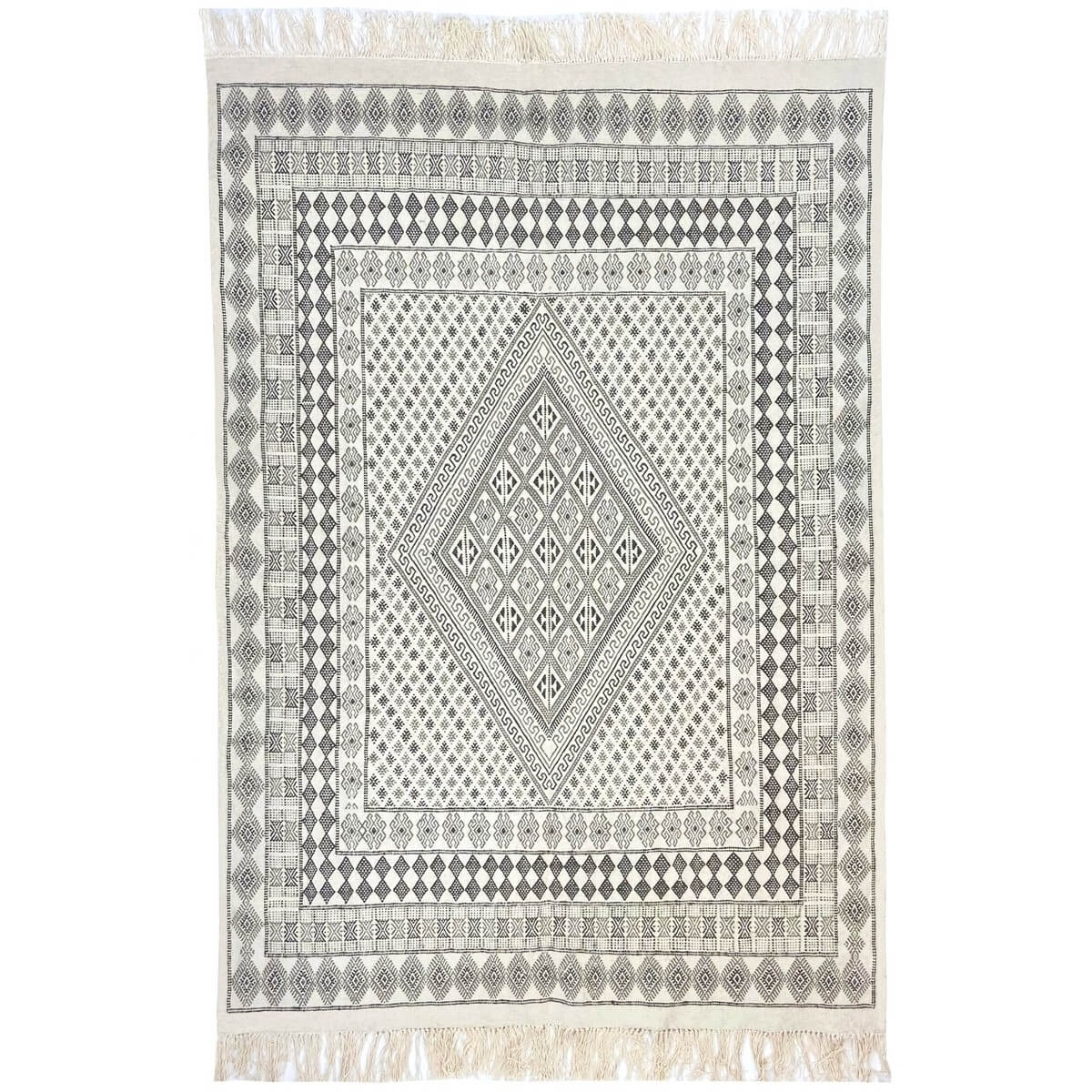Berber carpet Large Rug Margoum Samssa 170x250 cm Black White Grey (Handmade, Wool, Tunisia) Tunisian margoum rug from the city