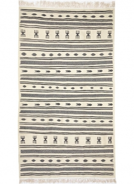 Berber Teppich Teppich Kelim Alkahfe 110x200 Schwarz und Weiß (Handgewebt, Wolle, Tunesien) Tunesischer Kelim-Teppich im marokka