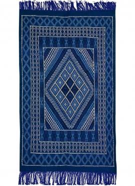 Alfombra bereber Alfombra Margoum Jed 120x212 cm Azul/Blanco (Hecho a mano, Lana, Túnez) Alfombra margoum tunecina de la ciudad