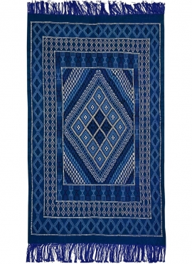 Tapis berbère Tapis Margoum  Jed 120x212 cm Bleu/Blanc (Fait main, Laine, Tunisie) Tapis margoum tunisien de la ville de Kairoua
