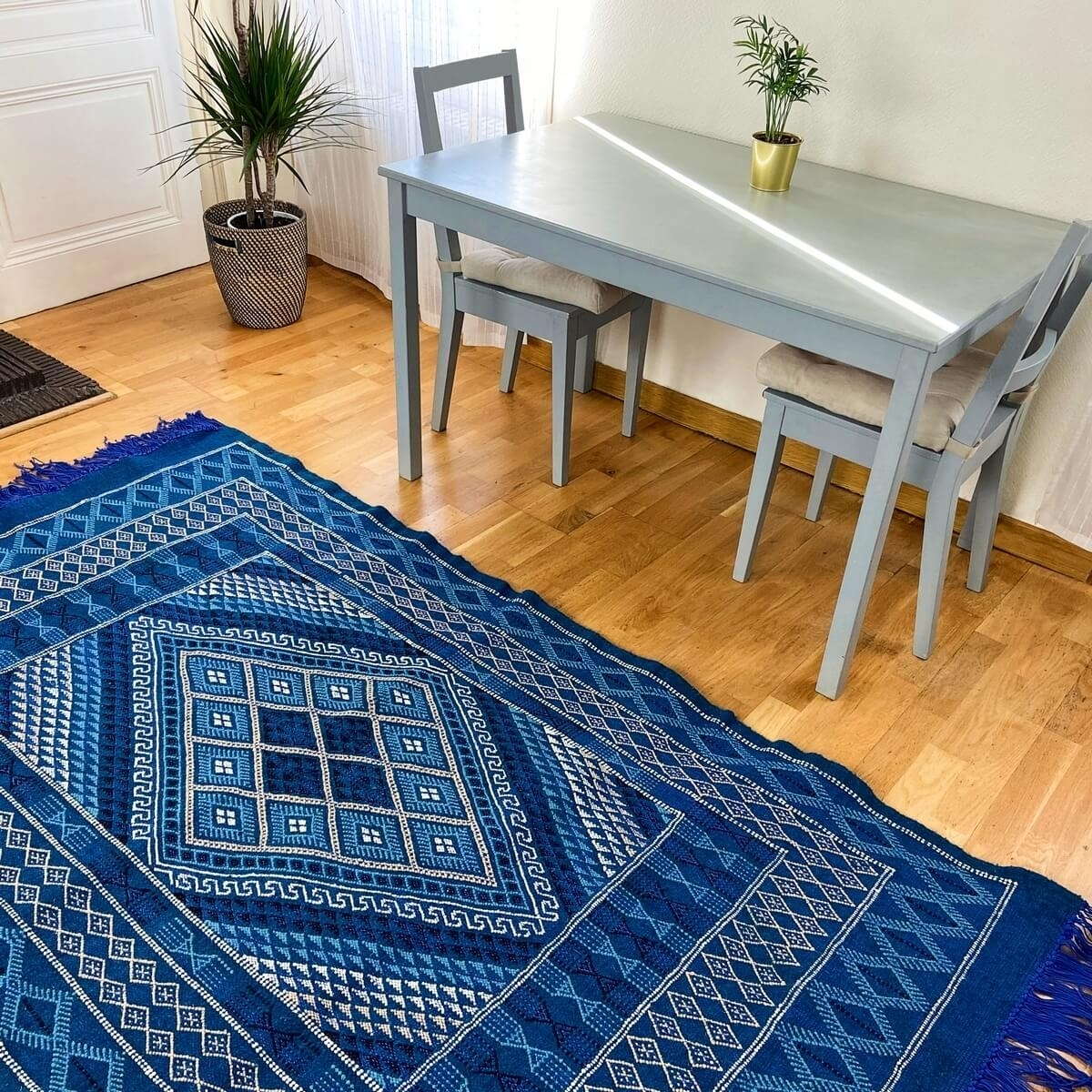 Berber carpet Rug Margoum Jed 120x212 cm Blue/White (Handmade, Wool, Tunisia) Tunisian margoum rug from the city of Kairouan. Re