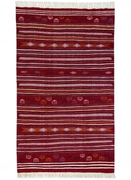 Tapis berbère Tapis Kilim Luban 140x258 cm Rouge/Multicolore (Tissé main, Laine) Tapis kilim tunisien. Tapis rectangulaire 100%