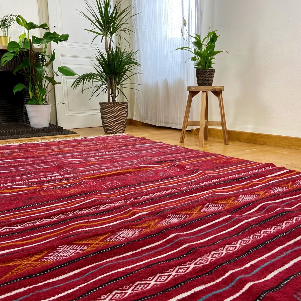 Berber carpet Rug Kilim Luban 140x258 cm Red/Multicolour (Handmade, Wool) Tunisian Rug Kilim style Moroccan rug. Rectangular car