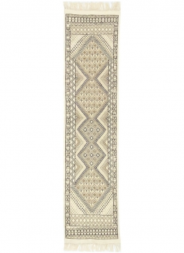 Alfombra bereber Alfombra Margoum Zaatar 78x318 cm Blanco/Marrón (Hecho a mano, Lana, Túnez) Alfombra margoum tunecina de la ciu