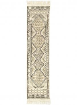 Tapete berbere Tapete Margoum Zaatar 78x318 cm Branco/Castanho (Artesanal, Lã, Tunísia) Tapete Margoum tunisino da cidade de Kai